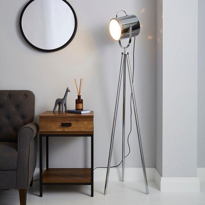 Dunelm Carlton Floor Lamp Chrome Chrome