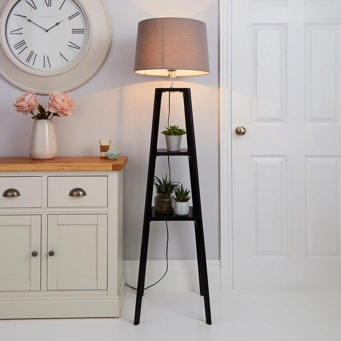 Dunelm Beaumont Wood Tripod Plant Black Floor Lamp Black