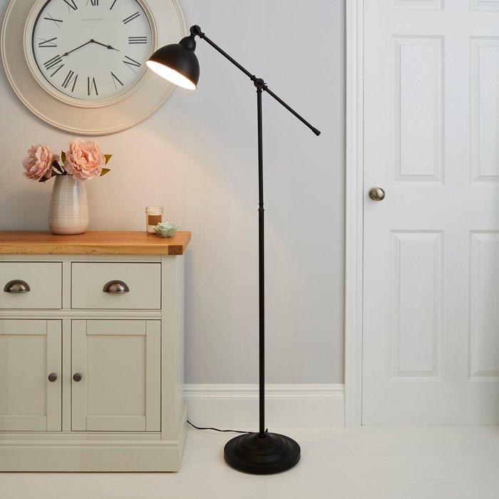 Dunelm Lever Arm Black Floor Lamp Black