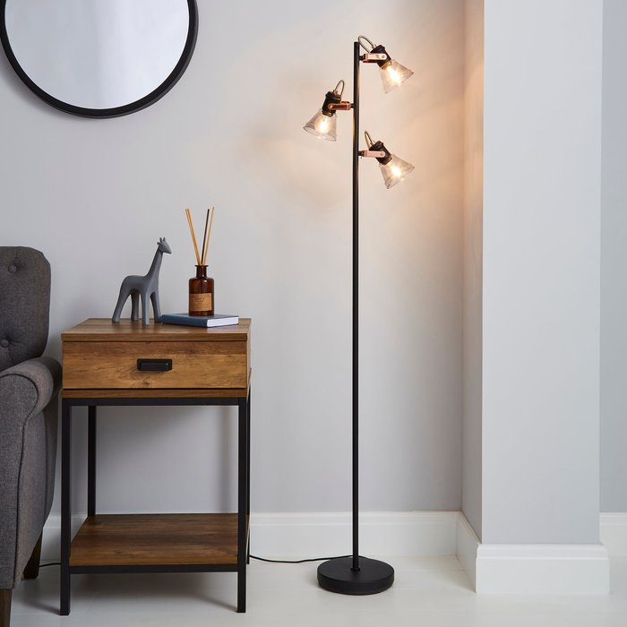 Dunelm Milas 3 Light Black Industrial Floor Lamp Black