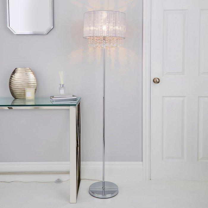 Dunelm Riah Jewel Ivory Floor Lamp Cream
