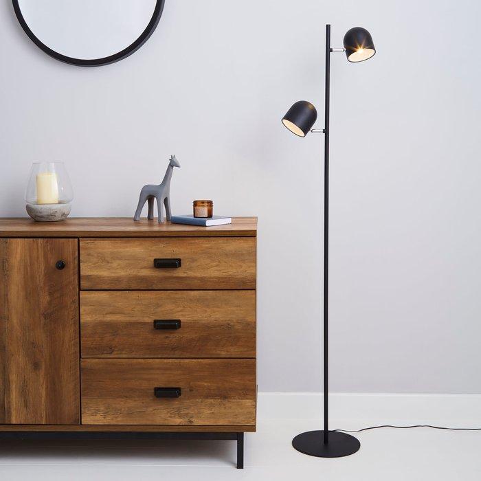 Dunelm Harme 2 Light Black Touch Dimmable Floor Lamp Black