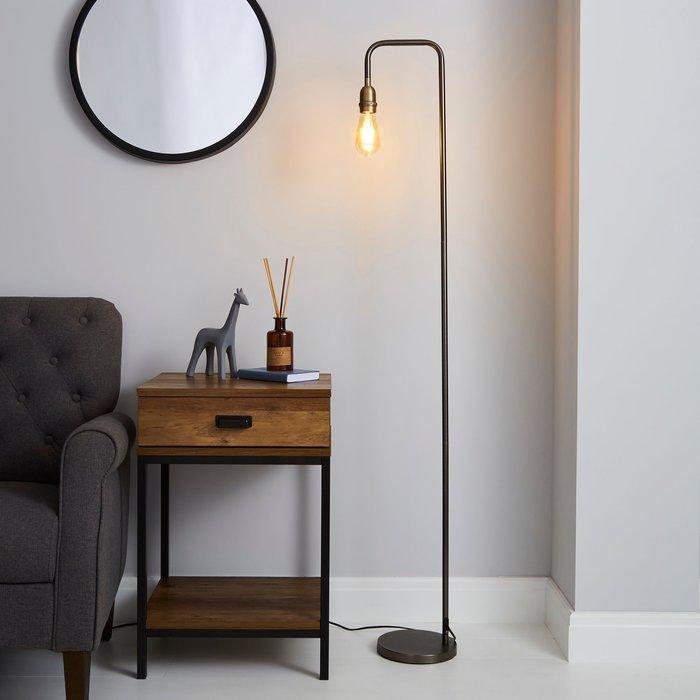 Dunelm Marsden Industrial Floor Lamp Nickle (Black)