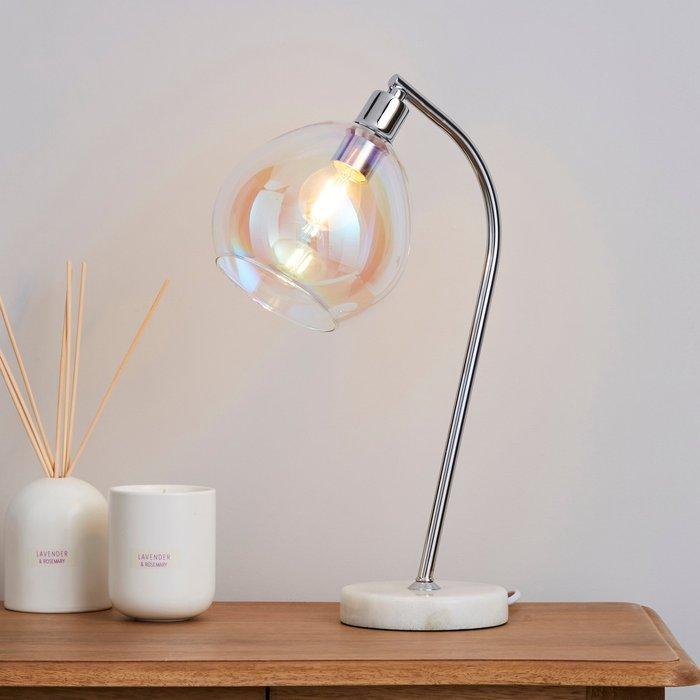 Dunelm Latisha Iridescent Glass Marble Base Task Desk Lamp Clear