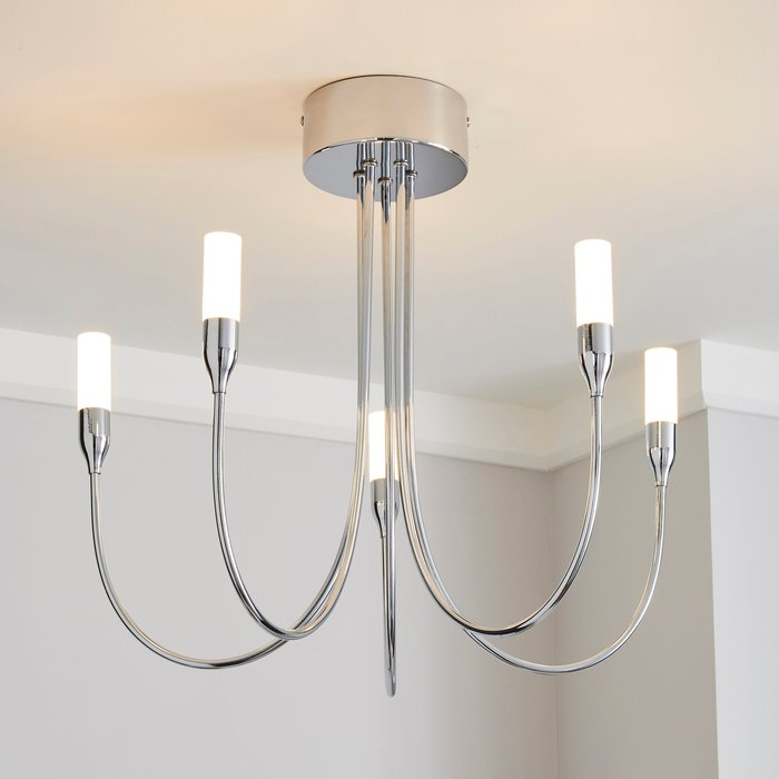 Dunelm Affric 5 Light LED Tipped Chrome Chandelier Chrome