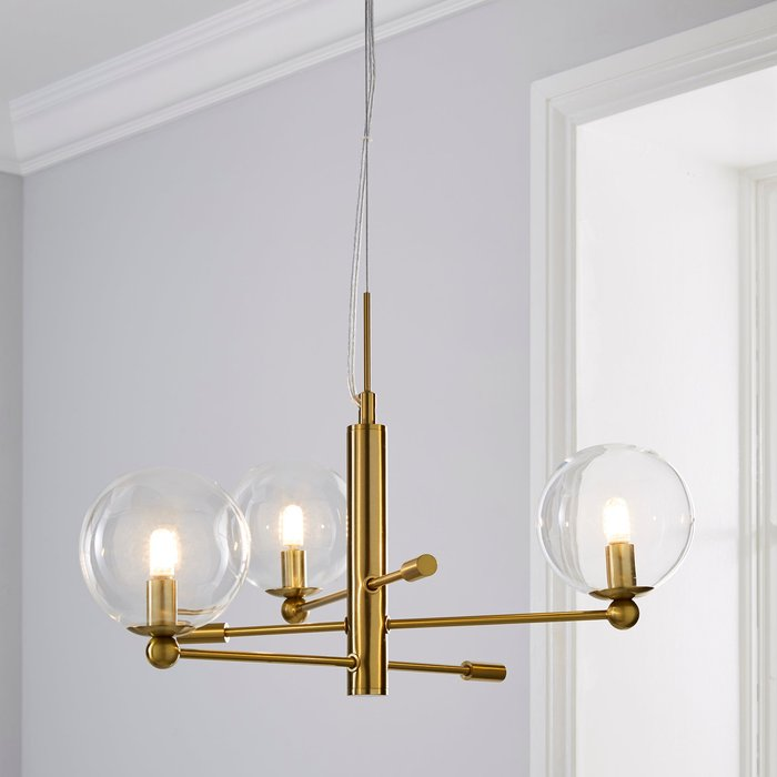 Dunelm Nour 3 Light Antique Brass Ceiling Fitting Gold
