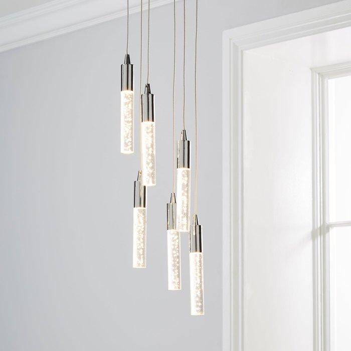 Dunelm Tassani 6 Light Integrated LED Bubble Glass Cluster Ceilling Fitting Chrome