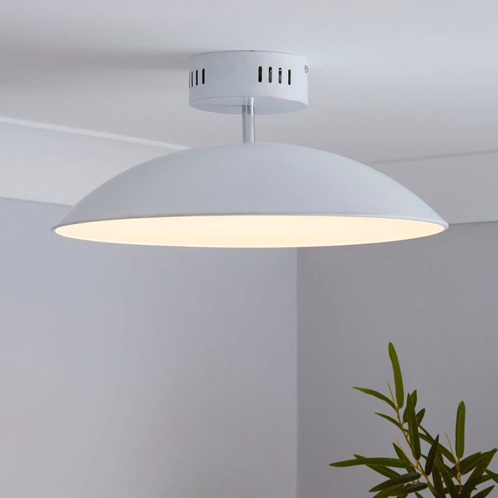 Dunelm Usk White Semi-Flush Ceiling Fitting White