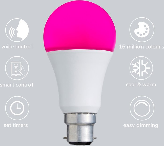 Dunelm Status Smart Alexa 9 Watt RGB BC GLS LED Bulb White