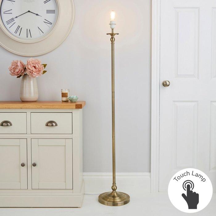 Dunelm Irene Touch Dimmable Antique Brass Floor Lamp Base Brass