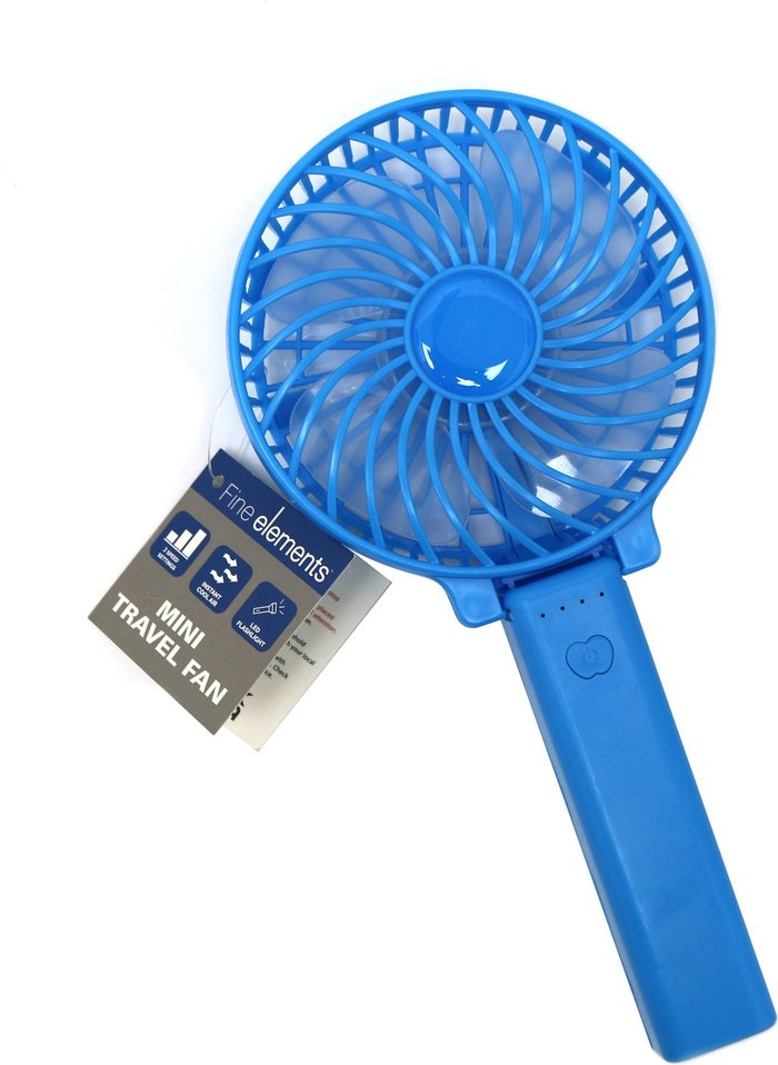 Dunelm White Mini Travel Fan Blue