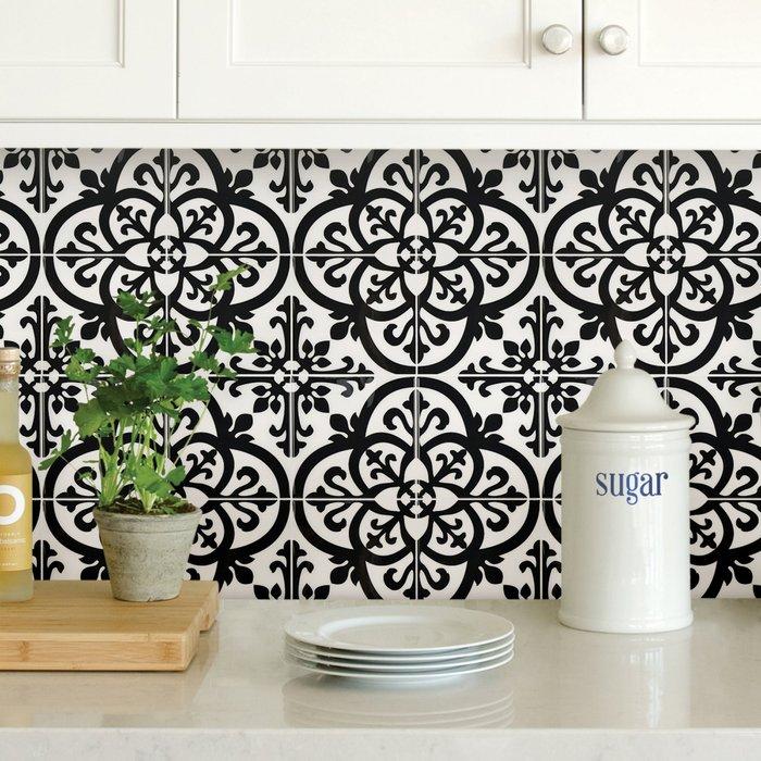 InHome InHome Avignon Self Adhesive Backsplash Tiles Black and White