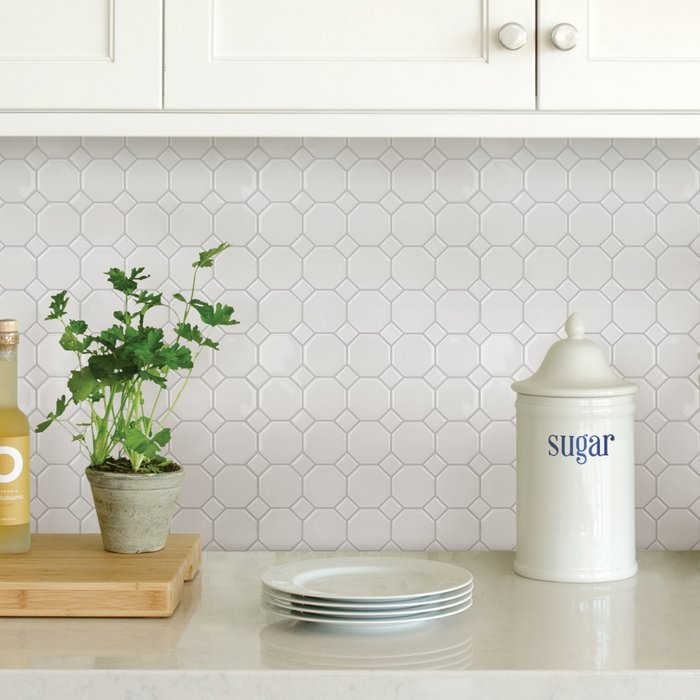 InHome InHome White Octagon Self Adhesive Backsplash Tiles White