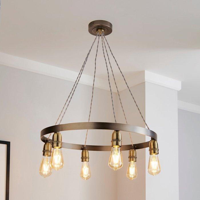 Dunelm Marsden Industrial 6 Light Hoop Antique Brass Ceiling Fitting Steel