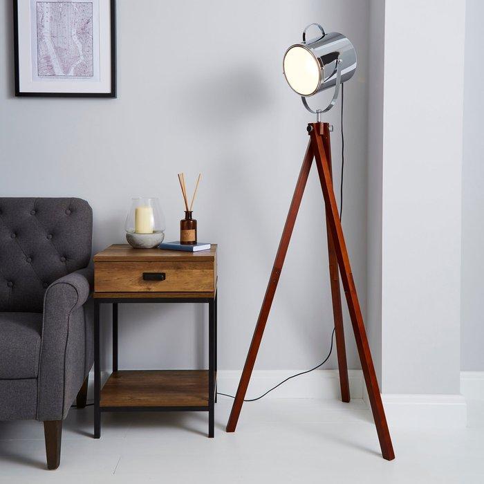 Dunelm Carlton Camera Tripod Wood Floor Lamp Silver