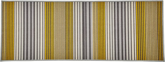 Dunelm Brook Ochre and Grey Striped Washable Runner Yellow and Grey