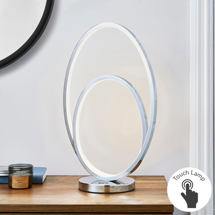 Dunelm Menton Dimmable Integrated LED Chrome Table Lamp Silver