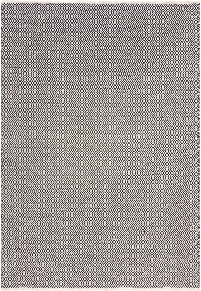 Dunelm Diamond Weave Rug Black and White
