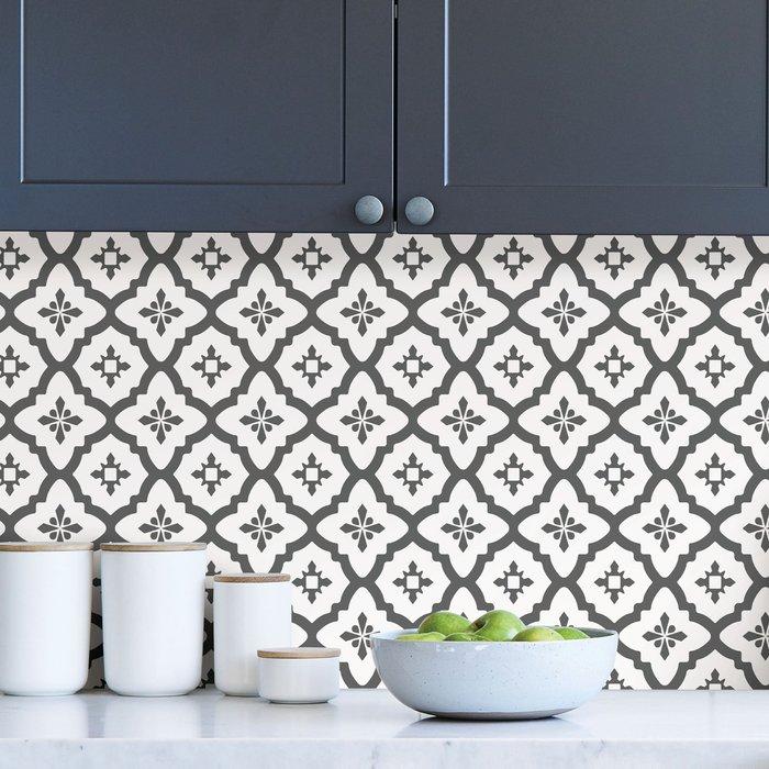 Dunelm Algarve Black Self Adhesive Backsplash Tiles Black and White