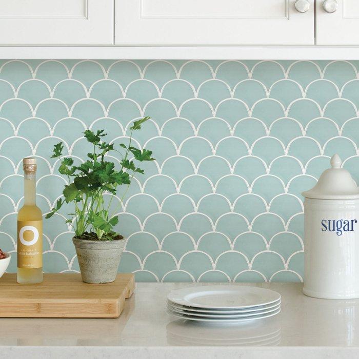 Dunelm Shell Blue Self Adhesive Backsplash Tiles Blue and White