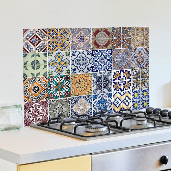 Dunelm Azulejos Multicoloured Self Adhesive Kitchen Panel Green, Blue and Yellow