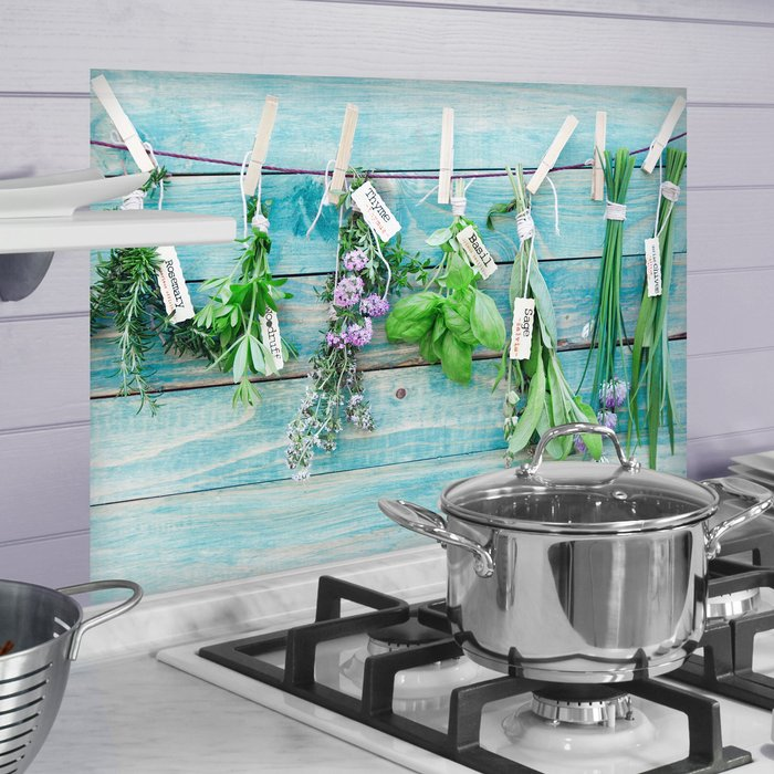 Dunelm Herbs Multicoloured Self Adhesive Kitchen Panel Green, Purple and White