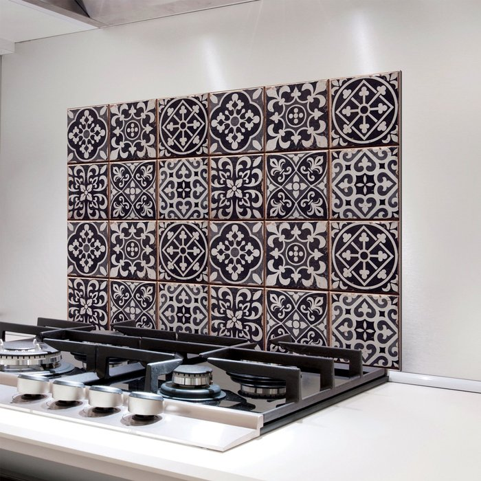 Fine Décor Wallpaper Azulejos Multicoloured Self Adhesive Kitchen Tiles Black and White