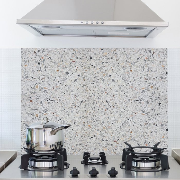 Fine Décor Wallpaper Terrazzo Cement Multicoloured Self Adhesive Kitchen Panel Grey and Brown