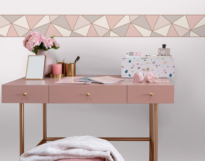 Fine Décor Wallpaper Apex Rose Gold Border Grey, Rose Gold and White
