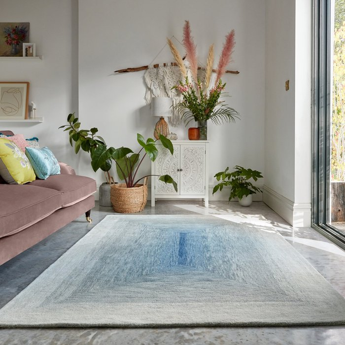 Dunelm Exclusive Avery Wool Rug Avery Blue