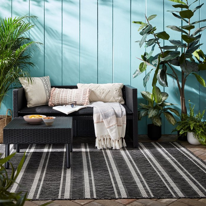 Dunelm Arya Stripe Indoor Outdoor Rug Arya Stripe Black