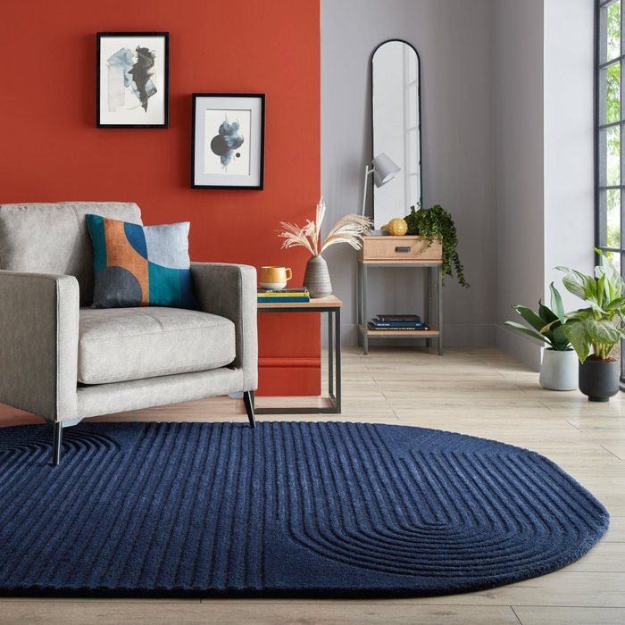 Dunelm Elements Fard Wool Rug Navy (Blue)