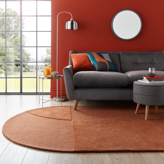 Dunelm Elements Shaped Wool Rug Butterscotch (Orange)