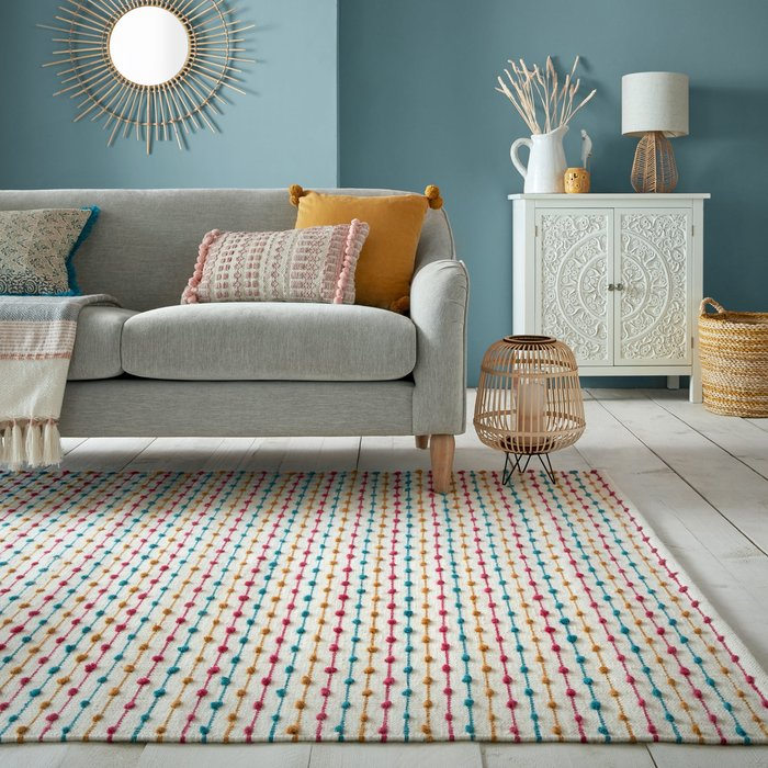 Dunelm Elena Stripe Rug Elena Multicoloured