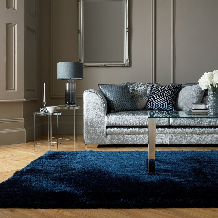 Dunelm Jewel Shaggy Rug Indulgence Navy