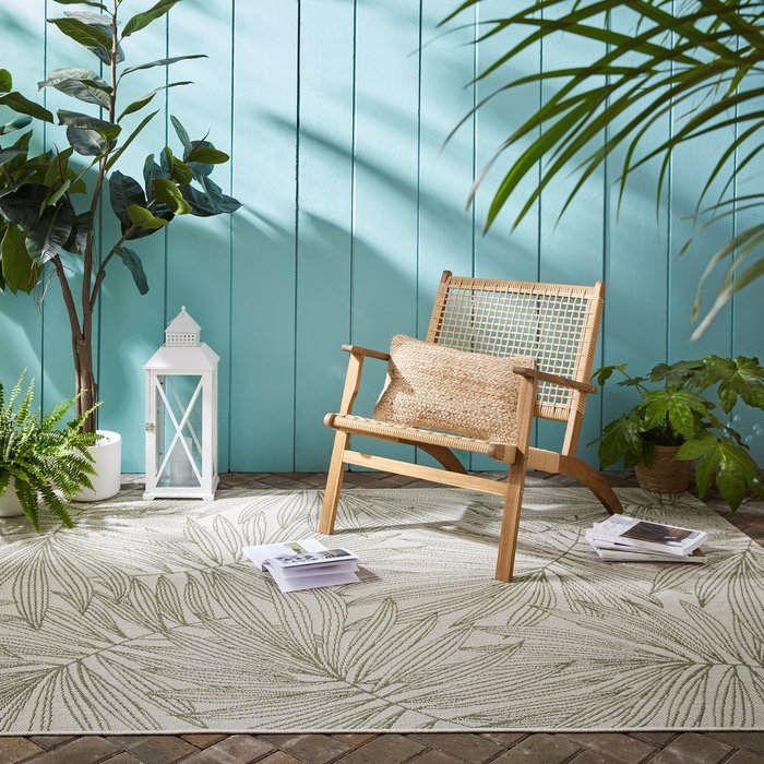 Dunelm Tropical Leaves Indoor Outdoor Rug Natural (Cream)