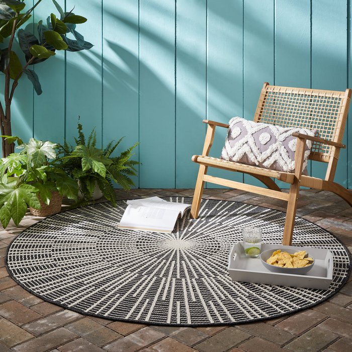 Dunelm Sticks Indoor Outdoor Circle Rug Light Grey