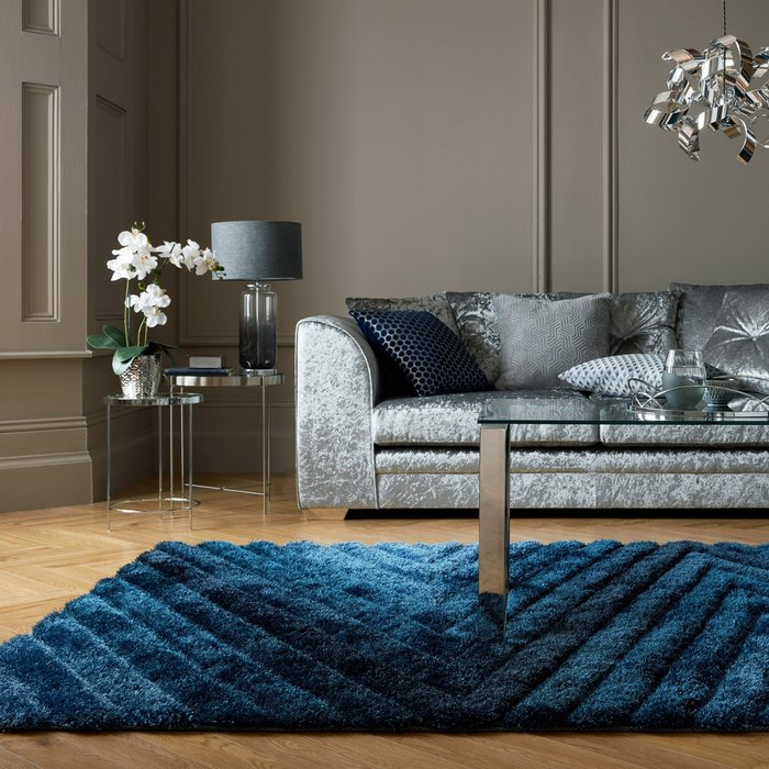 Dunelm Carved Ombre Rug Carved Ombre Navy