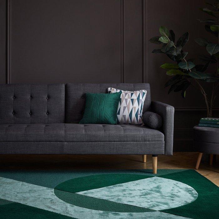 Dunelm Exclusive Taro Wool Mix Rug Green and Grey