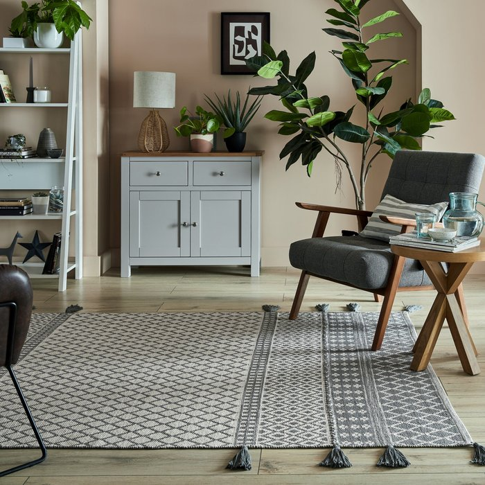 Dunelm Exclusive Cotton Flatweave Rug White and Grey