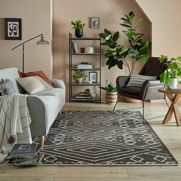 Dunelm Exclusive Journey Wool Rug Black and White