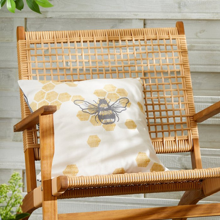 Dunelm Bumble Bee Striped Grey Water Resistant Outdoor Cushion MultiColoured