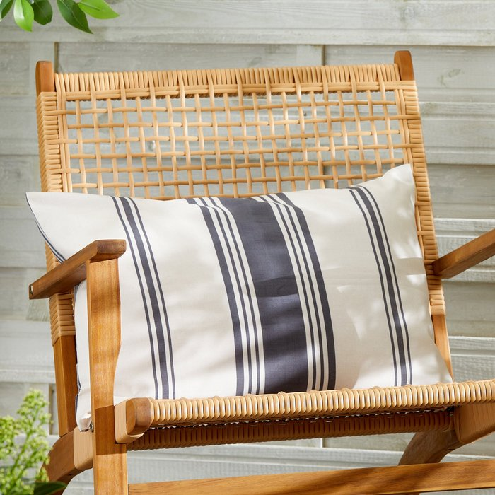 Dunelm Striped Monochrome Water Resistant Outdoor Cushion MultiColoured
