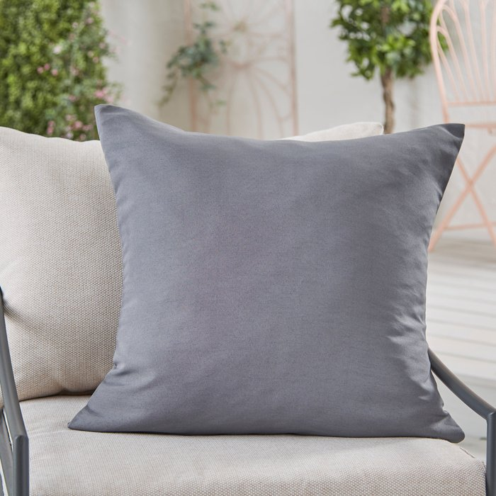 Dunelm Charcoal Water Resistant Outdoor Cushion Charcoal (Grey)