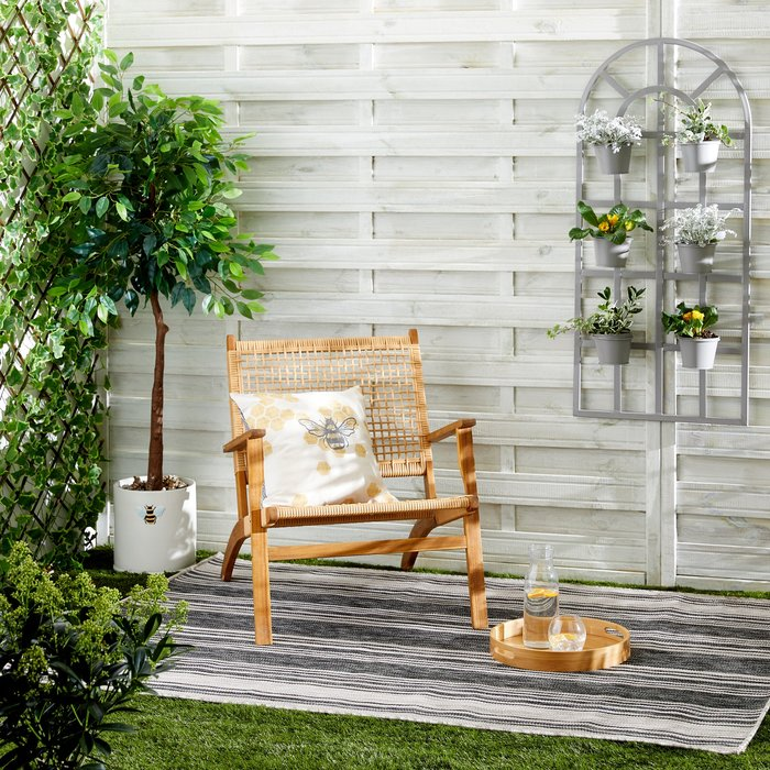 Dunelm Grey Striped Indoor Outdoor Rug Black and white