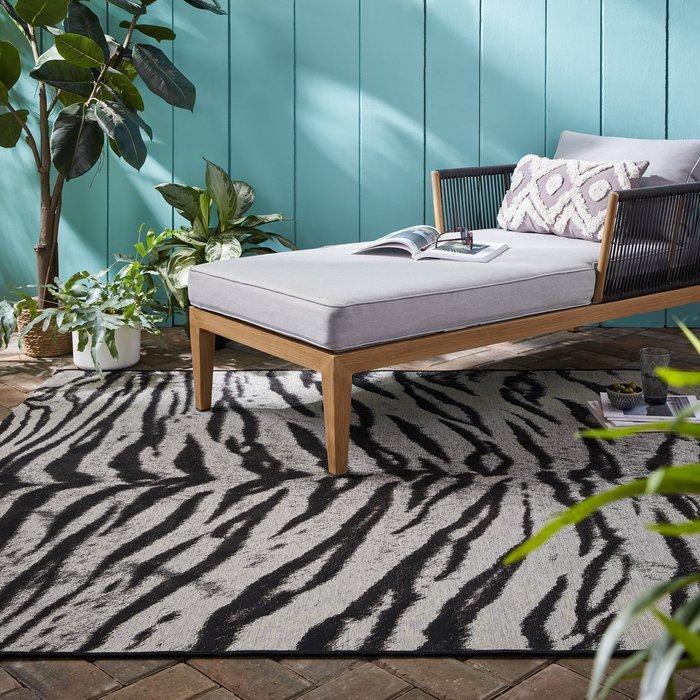 Dunelm Saber Tiger Print Indoor Outdoor Rug Black and white