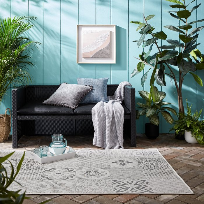 Dunelm Purity Tile Indoor Outdoor Rug Light Grey