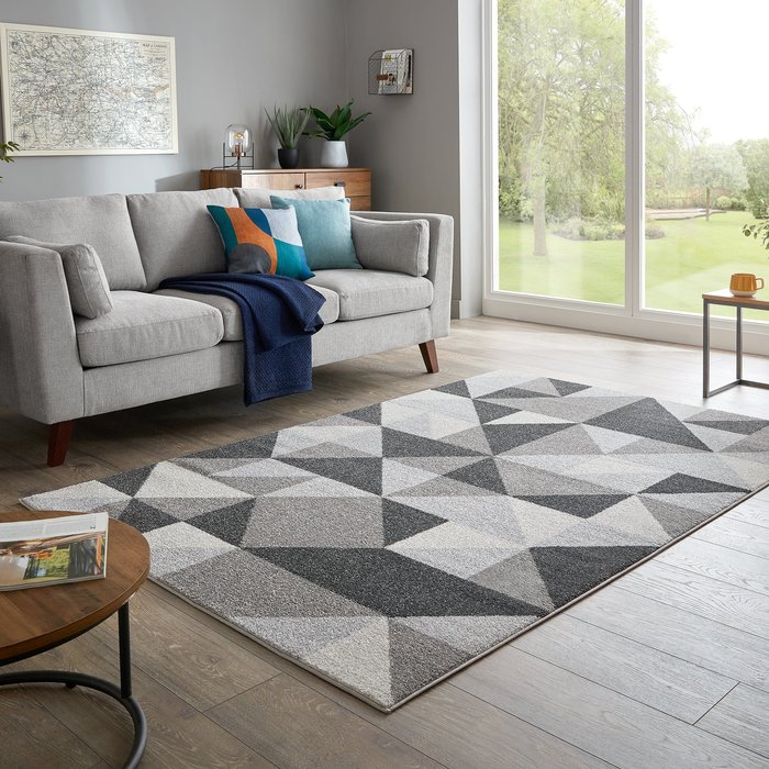 Dunelm Geo Squares Rug Charcoal