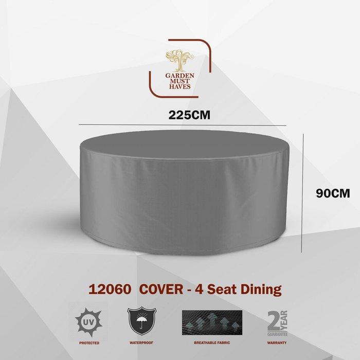 Handpicked 4 Seater Round Dining Set Cover Dark Grey