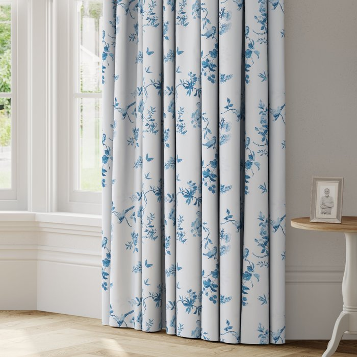 Made to Measure Birds and Roses Made to Measure Curtains Birds and Roses Blue
